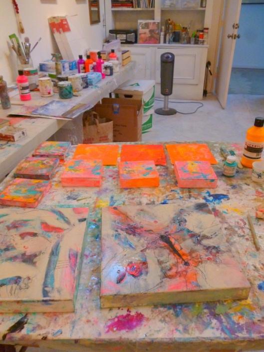 Suzanne Edminster, worktable in Saltworkstudio, 2013